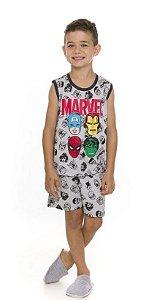 Pijama Infantil Avengers Cinza Estampado - Coleção Pai e Filho