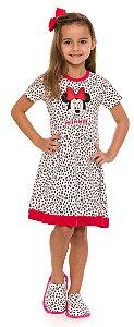 Camisola Infantil Minnie 0ff White Corações - Coleção Mãe e Filha