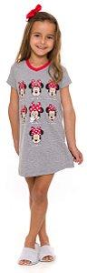 Camisola Infantil Minnie Semana Cinza - Coleção Mãe e Filha