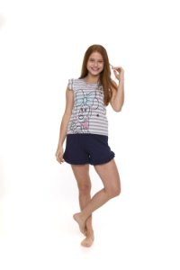 Pijama Short Doll Minnie Disney - Cinza e Branco - Juvenil