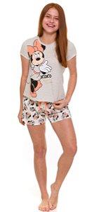 Pijama Juvenil Menina Minnie Off-White - Coleção Mãe e Filha