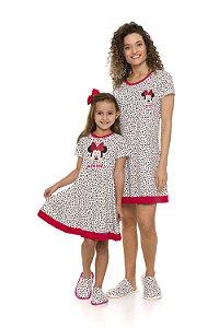 Camisola Minnie Disney -  Off-White e Corações - Coleção Mãe e Filha