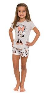 Pijama Infantil Menina Minnie Off-White - Coleção Mãe e Filha
