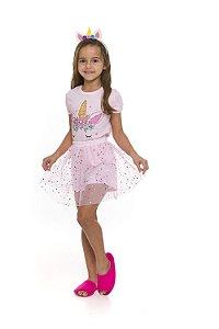 Pijama Short Doll Fantasia Unicórnio Rosa - Infantil