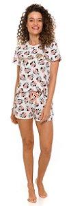 Pijama Adulto Feminino Minnie Off-White - Coleção Mãe e Filha