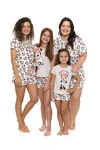 Pijama Short Doll Minnie Disney - Off-White - Coleção Mãe e Filha