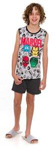 Pijama Juvenil Avengers Cinza Estampado - Coleção Pai e Filho