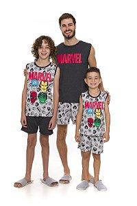 Pijama Avengers Marvel - Coleção Pai e Filho - Cinza Estampado