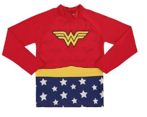 Camiseta Proteção UV Infantil Menina Mulher Maravilha Vermelha - Marlan