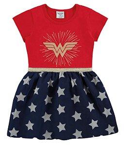 Vestido Mulher Maravilha - Liga da Justiça - Vermelho - Marlan