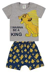Conjunto Camiseta e Bermuda Rei Leão Disney - Cinza e Azul - Marlan