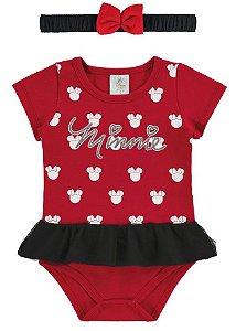 Body Minnie Disney com Tiara - Vermelho - Marlan