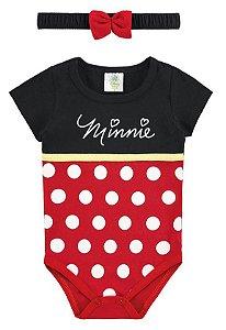 Body Minnie Disney com Tiara - Vermelho e Preto - Marlan
