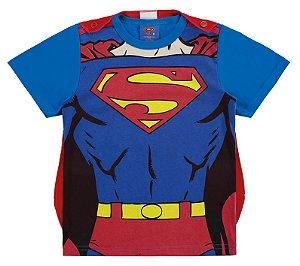 Camiseta Superman com Capa Removível - Vermelha e Azul - Marlan