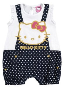 Macaquinho Bebê Hello Kitty - Azul Marinho e Branco - Marlan