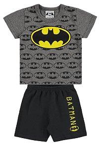 Conjunto Camiseta e Bermuda Batman- Cinza e Preto - Marlan