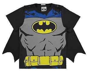 Camiseta Batman com Capa Removível - Cinza e Preta - Marlan