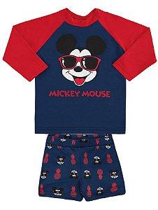 Conjunto Bebê Mickey Proteção UV Azul - Marlan