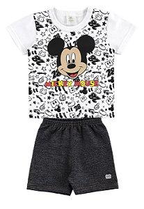 Conjunto Camiseta e Bermuda Mickey- Branco e Preto - Marlan