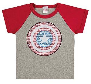 Camiseta Infantil Capitão América Cinza - Marlan