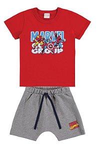 Conjunto Camiseta e Bermuda Marvel Avengers - Vermelho e Cinza - Marlan