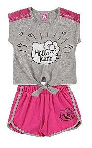 Conjunto Blusa e Shorts Hello Kitty - Rosa e Cinza - Marlan