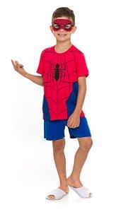 Pijama Infantil Menino Homem Aranha com Máscara Vermelho - Marvel