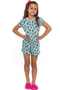 Pijama Short Doll Coala - Verde Estampado - Infantil