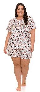 Pijama Adulto Feminino Plus Size Minnie Off-White - Coleção Mãe e Filha
