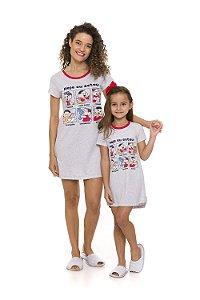 Camisola Turma da Mônica - Coleção Mãe e Filha - Cinza e Vermelha