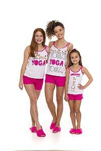 Pijama Short Doll Gatinho - Coleção Mãe e Filha - Branca e Rosa