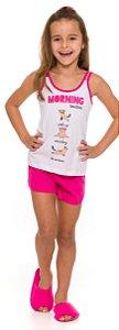 Pijama Infantil Gatinho Branco e Rosa - Coleção Mãe e Filha