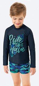 Conjunto Proteção UV Infantil Menino Surfista Azul Marinho e Verde - Malwee