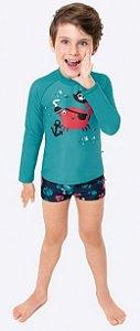 Conjunto Proteção UV Infantil Menino Bichinho Verde e Azul Marinho - Malwee