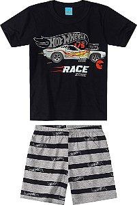 Conjunto de Camiseta e Shorts - Hot Wheels - Preto e Cinza - Malwee Moda Casa