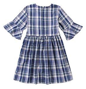 Vestido Xadrez  - Azul e Branco - Malwee