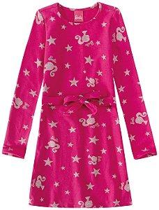 Vestido Barbie - Rosa Glitter - Malwee