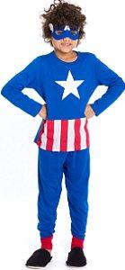 Pijama Infantil Capitão América com Máscara Azul - Marvel