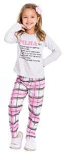 Pijama Infantil Filha Cinza e Rosa Xadrez - Coleção Família