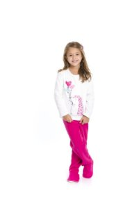 Pijama Soft Bichinhos - Branco e Rosa
