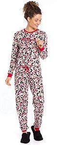 Pijama Adulto Minnie Branco Estampado - Coleção Mãe e Filha