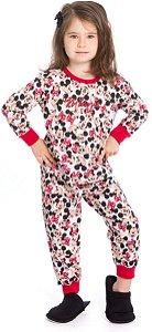 Pijama Bebê Minnie Branco Estampado - Coleção Mãe e Filha