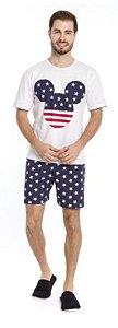 Pijama Adulto Masculino Mickey Branco e Azul Marinho - Coleção Família