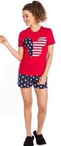 Pijama Adulto Feminino Mickey Vermelho e Azul Marinho - Coleção Família