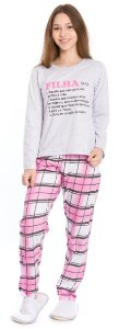 Pijama Juvenil Filha Cinza e Rosa Xadrez - Coleção Família