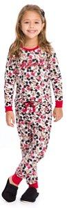 Pijama Infantil Minnie Branco Estampado - Coleção Mãe e Filha