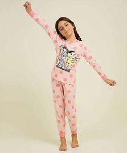 Pijama Infantil Mônica e Magali Salmão - Coleção Mãe e Filha