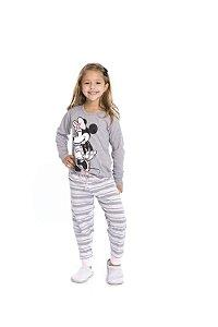 Pijama Minnie Disney - Cinza e Branco - Infantil