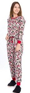 Pijama Juvenil Minnie Branco Estampado -Coleção Mãe e Filha