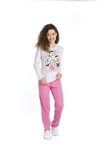 Pijama Turma da Mônica - Cinza e Rosa - Adulto